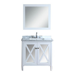 "Ariel - Summit 36"" White Single-Sink Bathroom Vanity Set - This vanity from our Summit collection blends modern and traditional elements into one design. From its tapered legs to mirrored door panels and alpine white finish, this vanity is sure to provide a dash of style to any bathroom."