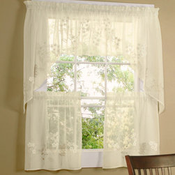 Commonwealth Home Fashions - Rhapsody Cream 54 x 24-Inch Hydrangea Tailored Two Tier Pair Curtain - - A layered fabric to create a hydrangea on a faux Linen  - 1.5-inch header  - 1.5-inch rod pocket  - 0.5-inch side hems and .5-inch bottom hem  - Pocket Construction: Rod pocket  - Additional Necessary Hardware: Decorative Rod  - Laundry Instruction: Washable Commonwealth Home Fashions - 70515460054024004