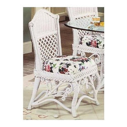 Spice Island Wicker - Wicker Side Chair with Cushion (Antique Floral) - Fabric: Antique FloralYou�۪ll love the detailing that is blended on this wicker side chair with cushion.  Crested back features a traditional tight weave with diamond insets below while apron is trimmed in braid with unique rattan curls at base.  Woven legs frame with durable supports.  Don't let the delicately beautiful aesthetic appeal fool you, this exquisite chair is both sturdy and supremely comfortable, with the very same thick and tasteful cushions and the soft wicker back that makes it such a soothing sight for sore eyes.  No matter what the food tastes like, this chair is sure to make every meal a great one. * Solid Wicker Construction. White Finish. For indoor, or covered patio use only. Includes cushion. 20.75 in. W x 21.75 in. D x 38.75 in. H