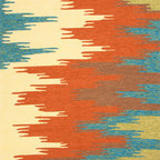 Jaipur Rugs - Abstract Pattern Red /Orange Indoor/ Outdoor Rug - CO06, 2x3 - Bring visual pop to outdoor living with the Colours I-O Collection. This energetic range of stripe, zigzag and stair-step designs bring together a myriad of multicolor palettes all in durable, hand-hooked polypropylene construction. With its fashion-forward styles and bold scale, each design can function in a broad range of contemporary and transitional spaces both indoor and out.