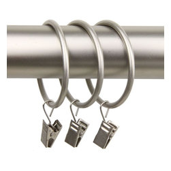 """Rod Desyne - 10 Curtain Clip Rings 2"""" I.D. in Satin Nickel - Rod Desyne Decorative Drapery Hardware is an excellent finishing touch to your room decor. Add these heavy duty designer rings w/ clips to your window decor.; Rings come as a set of 10; Material: Metal; Color: Satin Nickel; Weight: 0.43 lbs; Dimensions: 3.5""""H x 2.3""""W x 0.2""""D"""