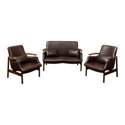 Great Deal Furniture - Braselton Leather Wood Frame 3pc Loveseat and Chair Set, Brown - The Braselton Wood Frame 3pc set is a great addition to any living space. The set includes one loveseat and two matching armchairs that are mid-century inspired design. Each piece is built with bonded leather and natural ash wood frame to create a unique sleek look. This set demonstrates attention to detail with its shape and form to enhance any space it is placed in.