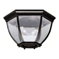 Kichler 2-Light Outdoor Fixture - Black Exterior - Two Light Outdoor Fixture. With its timeless profile, this 2-light flush mount is perfect for those looking to embellish classic sophistication outdoors. Because it is made from cast aluminum and comes in this beautiful black finish, this flush mount can go with any home decor while being able to withstand the elements. It features clear beveled glass panels, uses 40-watt bulbs, measures 12 in diameter by 7 high, and is UL listed for damp location.