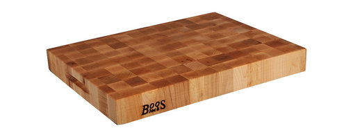 "John Boos - Boos Maple Chopping Block with Grips - 2-1/4"" Thick, End-Grain - 2-1/4-inch-thick maple end-grain chopping block by John Boos. Reversible. Three sizes: 18x18, 20x15, 24x18 inches. Each includes convenient hand grips."