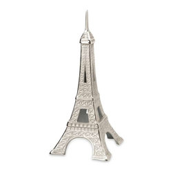 Eiffel Tower Cast Aluminum Statuary - This cast aluminum replica of the Eiffel Tower stands just a little under two feet tall and is perfect for a side table or shelf. Get the souvenir without leaving your home town, or bring your travel memories to life!