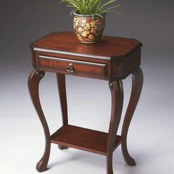 Butler - Butler Plantation Cherry Console Table 5021024 - Selected solid woods  wood products and choice veneers. Cherry veneer top with olive ash burl veneer border. Drawer with cherry veneer front and antique brass finished hardware. Finished on all sides.
