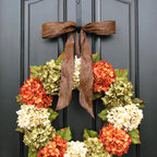Fall Hydrangea Front Door Wreath by Two Inspire You - Here's the perfect Halloween wreath for those who don't want decorations that are too childish.