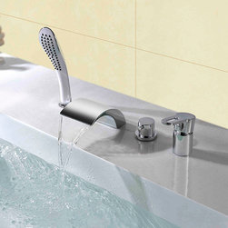 Victoria Waterfall Roman Tub Filler Polished Chrome - The Victoria series was designed to bring a modern and fun feel into any room. The elegant appearence of Victoria faucets seek to not only entertain but also to relax your mind and body. Constructed from solid brass for durability and reliability, finished in a high quality, corrosion resistant Polished Chrome.
