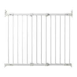 """KidCo - Angle Mount Safeway Baby/Pet Gate - White - Nothing is more frustrating than trying to install a baby gate and not having the ability to do so because mounting points don't align. The new KidCo Angle Mount Safeway Baby/Pet Gate model G2100 solves the problem with easy installation in any position, including on those difficult angled walls and banisters. Even better, the convenient design lets the gate to swing both ways and stops to prevent the gate from swinging over open stairs. The gate can be removed from its mounting and stored away when not in use. It measures 31"""" high and is manufactured from high quality steel. Works well in stairs, windows, and doorways and can be installed with a gate mounting kit to prevent damage to walls and baseboards. The KidCo Angle Mount Safeway Baby/Pet Gate features a kid-proof latch that adults can always manage and protects openings 28"""" to 42.5"""" wide. Extensions are available to protect larger openings. This gate in finished in white. For black finish, choose Model G2101. Mounts easily to angled spaces Kid-proof, adult friendly latch Easily stored when not in use High quality steel construction Meets or exceeds all ASTM and JPMA safety standards Safety stop to prevent opening over stairsOne Optional G4200 10"""" Extension Kit for openings 42"""" to 52"""".Two Optional G4200 10"""" Extension Kits for openings 52"""" to 63""""."""