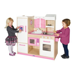 Guidecraft - Guidecraft Play Along Pink Kitchen - G97276 - Shop for Cooking and Housekeeping from Hayneedle.com! Inspired by retro kitchens the Guidecraft Play Along Pink Kitchen is sure to be loved by children who adore the color pink. This kitchen packs a punch in a small space and includes all the mainstays found in a real kitchen including a microwave refrigerator and freezer oven and stove with clicking knobs and sink and faucet. Sweet gingham curtains a clock with moveable hands and towel rack round out the details. Your child can add their own play food and utensils to add to the storage shelves.About GuidecraftGuidecraft was founded in 1964 in a small woodshop producing 10 items. Today Guidecraft's line includes over 160 educational toys and furnishings. The company's size has changed but their mission remains the same; stay true to the tradition of smart beautifully crafted wood products which allow children's minds and imaginations room to truly wonder and grow.Guidecraft plans to continue far into the future with what they do best while always giving their loyal customers what they have come to expect: expert quality excellent service and an ever-growing collection of creativity-inspiring products for children.