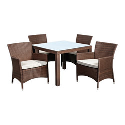 "Lamps Plus - Transitional Atlantic Grand Liberty 5-Piece Brown Wicker Dining Set - Atlantic Grand Liberty 5-Piece Brown Wicker Dining Set. 5-piece dining set. Set includes 4 armchairs and one table. Brown synthetic wicher frame. Aluminum frame construction. Seating features plush off-white water-repellant polyester cushions. Square table features glass top. Some assembly required. Armchairs are 24 1/2"" wide 23 1/2"" deep 35"" high. Table is 35 1/2"" square 29"" high.   5-piece dining set.  Set includes 4 armchairs and one table.  Brown synthetic wicher frame.  Aluminum frame construction.  Seating features plush off-white water-repellant polyester cushions.  Square table features glass top.  Some assembly required.  Armchairs are 24 1/2"" wide 23 1/2"" deep 35"" high.  Table is 35 1/2"" square 29"" high."