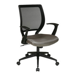 "Office Star - Work Smart EM Series EM51022N-2 Screen Back Task Chair with T-Arms - Screen back and mesh seat task chair with ""T"" arms. Locking tilt control with adjustable tilt tension. Fixed designer arms. Heavy duty angled nylon base with dual wheel carpet casters. Available in grey (-2)."