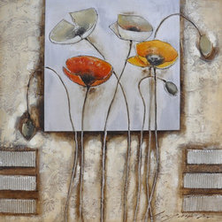 YOSEMITE HOME DECOR - Poppies For You I Art Painted on Canvas - Mixed with light to heavy texture with acrylic paints with added brushed metal and silver overlays.