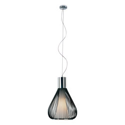 ET2 - ET2 Hydrox Modern / Contemporary Pendant Light X-KB90-10512E - In a ballet of fluid grace, Hydrox drips in White or Black finish from a spiraling Polished Chrome pendant and pools into a transparent teardrop of soft light. A Frost White glass core encases the gentle incandescent source for a sheer glow that dances and sways like the natural ebb and flow of the ocean.