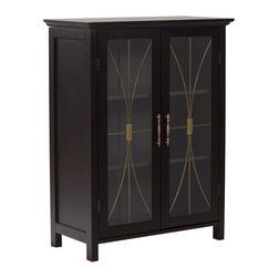 Elegant Home Fashions - Delaney Floor Cabinet with 2 Doors - The Delaney Double Door Floor Cabinet in a dark espresso finish from Elegant Home Fashions offers storage with style for the bathroom.  Featuring an elegant crown molded top and adjustable shelf helps make it easy to store items of different sizes. The tempered glass-paneled doors decorated with cathedral style wire, provides a looming view into the cabinet.  The cabinet features metal knobs for easy opening. This sturdy cabinet comes with assembly hardware.