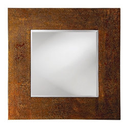 Howard Elliott - Cassiday Mirror in Mottled Bronze Lacquered Wood Mirror - Frame Size: 39 in. x 39 in.