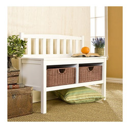"Wildon Home � - Harrison Wood Storage Bench - This low-profile contemporary white storage bench goes well at the end of a bed, in a bathroom, entryway, or living room. This bench is built with an all-wood construction and has two rattan baskets perfect for storing all your necessities. The seat back is symmetrically lined with vertical slat braces and the sides are open for a sleek styling. This simple slender design is sure to provide a convenient seat without taking up too much precious space in your home. Features: -Two rattan storage baskets.-Slender design ensures convenient seat without taking up a lot of room.-Wood construction.-Seating Capacity: 2.-Arms Included: No.-Back Included: Yes.-Number of Items Included: 1.-Cushions Included: No.-Lid Included: No.-Skirted: No.-Slipcover: No.-Upholstered: No.-Stackable: No.-Foldable: No.-Tray Included: No.-Powder Coated Finish: No.-Storage Included: Yes -Number of Storage Compartments: 2..-Material: MDF with solid rubberwood legs.-Solid Wood Construction: No.-Outdoor Use: No.-Legs Included: Yes -Leg Material: Solid rubberwood.-Removable Legs: No..-Swatch Available: No.-Commercial Use: No.-Hand Painted: No.-Distressed: No.-Recycled Content: No.-Eco-Friendly: No.-Product Care: Wipe with a clean dry cloth.-Number of Baskets: 2.Specifications: -FSC Certified: No.Dimensions: -Overall Height - Top to Bottom: 28.5"".-Overall Width - Side to Side: 36"".-Overall Depth - Front to Back: 14.25"".-Seat Height: 18.75"".-Legs: Yes.-Storage Compartment: -Storage Compartment Height - Top to Bottom: 7"".-Storage Compartment Depth - Front to Back: 12""..-Overall Product Weight: 36 lbs.Assembly: -Assembly Required: Yes.-Tools Needed: Phillips screwdriver #2.-Additional Parts Required: No.Warranty: -Product Warranty: 1 year limited manufacture."