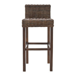 Safavieh - Cypress Bar Stool - Croco Color - Equally at home in country, coastal or traditional interiors, the Cypress Barstool offers a taste of the islands with its rich cappuccino brown woven crocodile rattan seat and back. With its sturdy Mango wood straight-legged charm, the Cypress will provide functional fashion for your indoor seating at bar, counter or pub table. No assembly required.