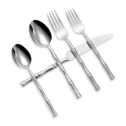 Hampton Forge - Hampton Forge Bamboo Mirror 20-Piece Flatware Set - You'll love the original, forged sculptural detailing of this beautiful flatware. Made from superior stainless steel, this flatware is artisan crafted and shaped into a detailed work of art for your table with a long lasting finish and superior quality.