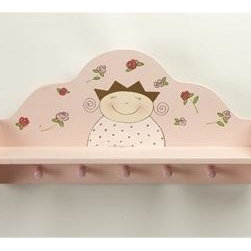 Home Essentials - Petite Princess Pink  Wall Shelf With Hooks - In your childs room, this cute pink petite princess shelf with hooks make life a little easier. Use them to hang up towels, robes, sweaters and other gear.          * Includes 5 hooks