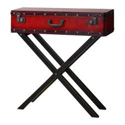 Uttermost Taggart Red Console Table - Antiqued red simulated trunk on a rubbed black, solid poplar wooden base. Antiqued red simulated trunk on a rubbed black, solid poplar wooden base.