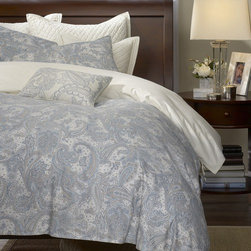 "Harbor House - Harbor House Chelsea Paisley Duvet Cover Mini Set - The Chelsea collection features a beautiful paisley print in soft blues and khaki on a soft white sateen fabric. The accessories have a beautiful, tailored satin stitch embroidered boarder that adds a touch of luxury to this collection. The Chelsea collection is perfect for your master bedroom or guest room. Features: -Available in Queen or King sizes. -Set includes 1 duvet, 2 shams. -Chelsea collection. -Material: 100% Cotton. -Machine washable for easy care. -Dimensions: 90""-106"" Height x 90"" Width."