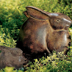 """Achla - Moon Bunny - Large - This delightful large moon bunny is built to last from non-corrosive cast aluminum and displays an attractive & durable finish in warm antique bronze.  Pair up this 7"""" high large moon bunny with its smaller counterpart to create an endearing garden scene! * Moon Bunny is cast of  all-weather aluminum withAntique bronze finish9 1⁄ 4in.L x 7in.H"""