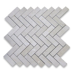 "Stone Center Corp - Spanish Crema Marfil Marble Herringbone Mosaic Tile 1 x 3 Polished - Crema Marfil Marble 1x3"" pieces mounted on 12x12"" sturdy mesh tile sheet"