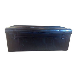 Used Vintage Steamer Black Metallic Trunk - Flat top black trunk with two metal latches and locking mechanism. Some surface rusts and bends. A well travelled trunk that would be great as coffee table or used as storage.