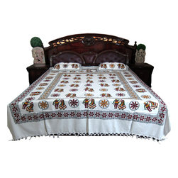Mogul Interior - Block Print Cotton Indian Bedcover With Pillows - Handloom Cotton