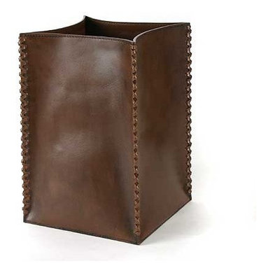 Leather Waste Bin - Our Brown leather waste bin is the epitome of modern simplicity.