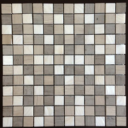 """Polished White Mother of Pearl & Haisa Marble Organic Blend 1"""" x 1"""" Squares Tile - Polished White Mother of Pearl and Haisa Marble Mosaic Tile.  This mother of pearl and marble mosaic blend will provide endless design possibilities from contemporary to classic. It can be used for both commercial and residential settings.  We recommend it for kitchen backsplashes, bathroom floors and walls as well as wet areas.  The mesh backing not only simplifies installation, it also allows the tiles to be separated. The tiles have a polished finish. The natural material will have some color variation."""