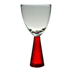 Lavish Shoestring - Consigned 6 Red Conical Stem Wine Glasses, Vintage European - This is a vintage one-of-a-kind item.