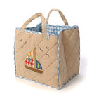 """Wingreen - WinGreen Toy Bag - Beach House - Our Beach House Toy Bag is lightly padded and is appliqued and embroidered with a sail boat on one side and a lighthouse on the other.  Blue gingham lining and trim. Machine washable. Size: 15.75"""" x 15.75"""""""