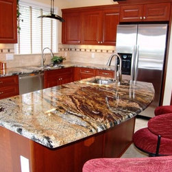 kichens magma - Magma gold granite kitchen with cherry cabinet and Tuscany Ivory tile floor