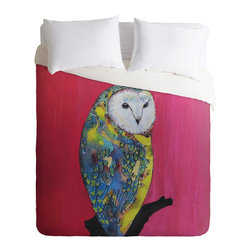 DENY Designs - Clara Nilles Owl On Lipstick Duvet Cover - Turn your basic, boring down comforter into the super stylish focal point of your bedroom. Our Luxe Duvet is made from a heavy-weight luxurious woven polyester with a 50% cotton/50% polyester cream bottom. It also includes a hidden zipper with interior corner ties to secure your comforter. it's comfy, fade-resistant, and custom printed for each and every customer.