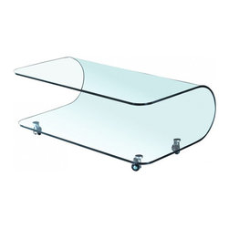 MODERN BENT GLASS COFFEE TABLE WITH CASTERS PERFORMANCE -