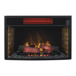 ClassicFlame - ClassicFlame 32-In Spectrafire Infrared Electric Fireplace Insert - 32II310GRA - The ClassicFlame 32 inch Fixed Glass SpectraFire Infrared Electric Fireplace Insert not only looks like a wood burning fireplace, but it also feels like one. Featuring a powerful infrared quartz heater capable of producing 5,200 BTU's of supplemental heat easily warms rooms up to 1,000 Sq. Ft. quartz tubes are very powerful and are good for more than 20,000 hours of heating. The firebox includes realistic looking logs and embers that glow just as a real fire would. The all LED lit SpectraFire Plus flame technology boasts a stunning fire appearance that is completely customizable. Choose from any combination of 5 flame colors, 5 flame speeds and 5 flame brightness levels. The unit also includes a multi-function remote control that allows you to adjust all the various settings from the comfort of your chair. For added safety the Safer Plug feature monitors the internal temperature of the plug, constantly checking for overheating. Should it detect an increase in temperature, it automatically turns off the unit, protecting both your fireplace and wall outlet from damage.