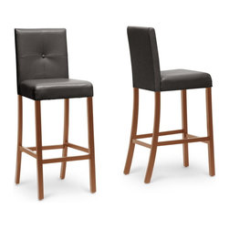 """Baxton Studio - Baxton Studio Curtis Dark Brown Modern Bar Stool - The Curtis Bar Stool brings a sleek, contemporary silhouette to your dining area. Perfect alongside a counter or tall table, this contemporary bar stool features smooth, glossy faux leather in a beautiful shade of dark brown with a matching covered button accent. Made in China, this seat is made with a sturdy solid wooden frame finished with brown stain and requires assembly. Foam cushioning provides easy, quick comfort. To clean, wipe the surfaces with a damp cloth. For a unified look throughout your home, we also offer matching Curtis Counter Stools and Dining Chairs (each sold separately), which are also available in cream.  16""""W x 21.5""""D x 42.5""""H , seat'sion:16""""W x 15.8""""D x 29.5""""H"""