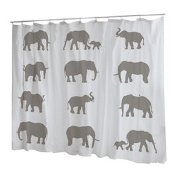 Uneekee - Uneekee Elephants Shower Curtain - Your shower will start singing to you and thanking you for such a glorious burst of design as you start your day!  Full printing on the front and white on the back.  Buttonhole openings for shower rings.