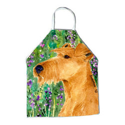 Caroline's Treasures - Irish Terrier Apron - Apron, Bib Style, 27 in H x 31 in W; 100 percent  Ultra Spun Poly, White, braided nylon tie straps, sewn cloth neckband. These bib style aprons are not just for cooking - they are also great for cleaning, gardening, art projects, and other activities, too!