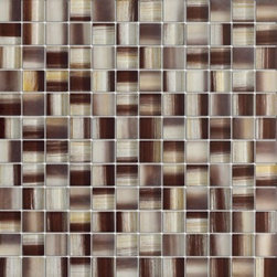 Zephyr Bulgarian Rose Brown Glossy Square Pattern Glass Mosaic Tiles, Sheet - 1 in. x 1 in. Zephyr Bulgarian Rose Brown Mesh-Mounted Square Pattern Glass Mosaic Tile is a great way to enhance your decor with a traditional aesthetic touch. This Glossy Mosaic Tile is constructed from durable, impervious Glass material, comes in a smooth, unglazed finish and is suitable for installation on floors, walls and countertops in commercial and residential spaces such as bathrooms and kitchens.