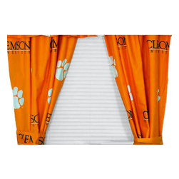 College Covers - NCAA Clemson Tigers Curtains Long Collegiate Drapes - Features: