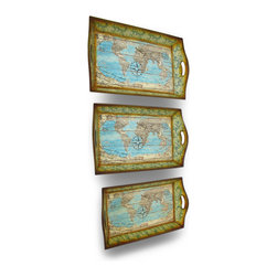 Zeckos - Set of 3 World Atlas Decorative Wooden Trays - This set of 3 trays adds a decorative accent to any table or desk in your home or office. Made of medium density fiberboard (MDF), they have a travel theme, with a world atlas print on top and all 4 sides, accented with passport stamps, compass roses and letter correspondence. The largest tray measures 21 inches (53 cm) long, 14 inches (36 cm) wide, 1.5 inches (4 cm) deep, the middle one is 19 inches (47 cm) long, 13 inches (33 cm) wide, 2.25 inches (6 cm) deep, and the smallest tray measures 17.5 inches (44 cm) long, 11 inches (27 cm) wide, 2 inches (5 cm) deep. Use them to display groups of small items, to sort mail, or to serve snacks.