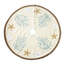 NAUTICAL TREE SKIRT – REGULAR - NEW - Put some motion in your ocean and some glee in your tree with this tree skirt. Each skirt is handmade with embroidered starfish and hand-beaded coral on ivory jute and cotton sheeting. Perfect for larger trees. These coordinate with our Coastal Christmas collection.