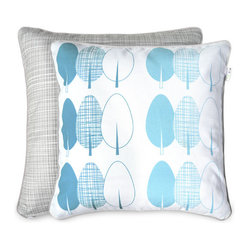 Blue and Gray Trees Accent Pillow