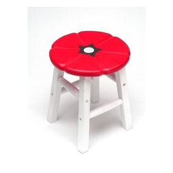 ATD - 12 Inch Black, White, and Red Poppy Flower Themed Wooden Stool - This gorgeous 12 Inch Black, White, and Red Poppy Flower Themed Wooden Stool has the finest details and highest quality you will find anywhere! 12 Inch Black, White, and Red Poppy Flower Themed Wooden Stool is truly remarkable.