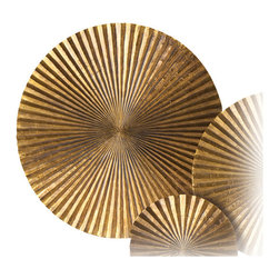 Kathy Kuo Home - Apollo Large Metal Wood Crimped Gold Wall Plaque Disc - Looking for a wow inducing piece?  This small metal and wood plaque certainly creates a lot stir.  Evoking mid century op art and Asian metal gong without effort, this little plaque delivers a big statement.  Use alone or clustered with the additional Apollo discs for a three dimensionally layered look.
