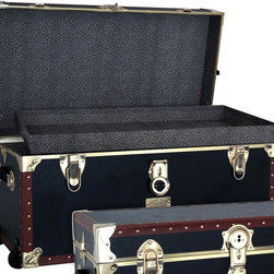 Seward Trunk - 1878 31 in. Oversize Locker w Wheels & Tray i - Tray included. Heavy duty brass plated hardware. Heavy gauge vinyl covering. Durable wooden construction. Paper lined interior protects contents. Strong tacked tan colored binding. Side dowels for proper lid alignment. 2 Leather handles. Decorative name plate. 31 in. L x 17 in. W x 15.25 in. H