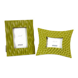 Imax - Beautiful and Unique Set of 2 Essentials Green Frames Home Decor - Part of the Green Apple collection from Essentials by Connie Post, the vibrant color and bold patterns of the Essentials green frames are sure to display your favorite photos with pizzazz.
